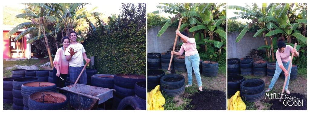 Arq. Juliana e Victor colocando terra | Arq. Maria Lúcia colocando terra com húmus