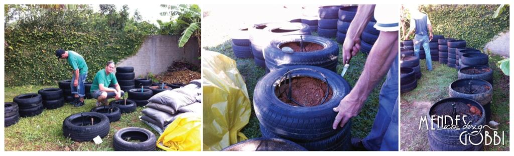 Irrigação pronta | Cortando os pneus | Pneus prontos para plantar